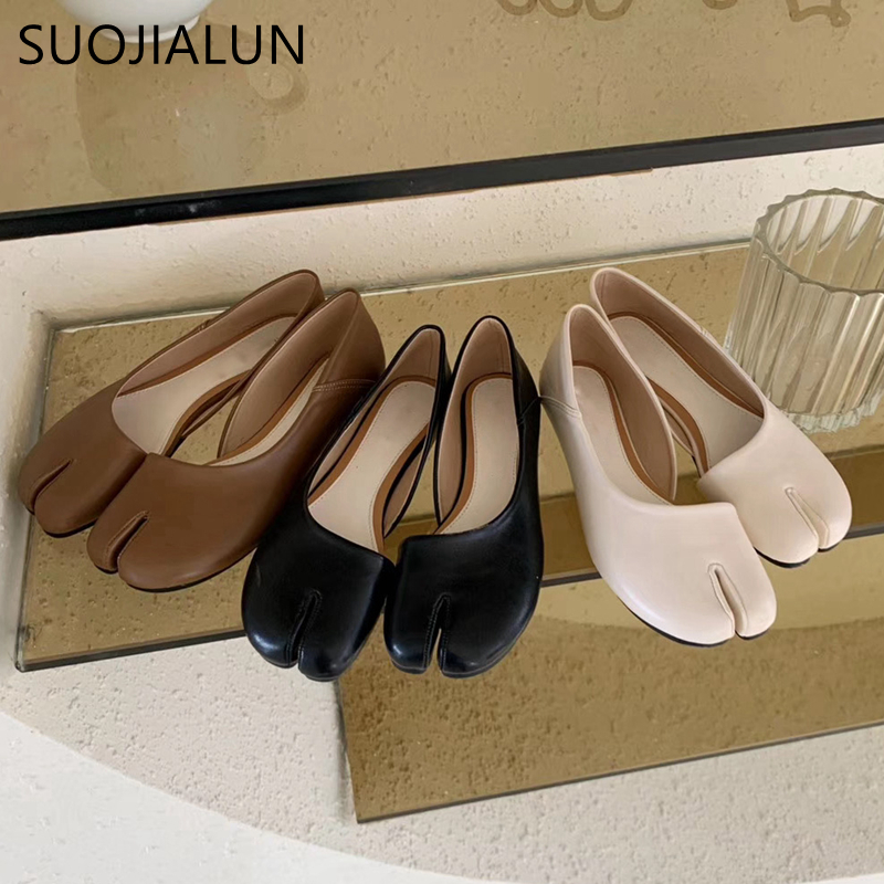 SUOJIALUN Women Flat Heel Shoes Round Toe Split Toes Dress Shoes Breathable Comfortable Slip On Leather Casual Zapatos Mujer