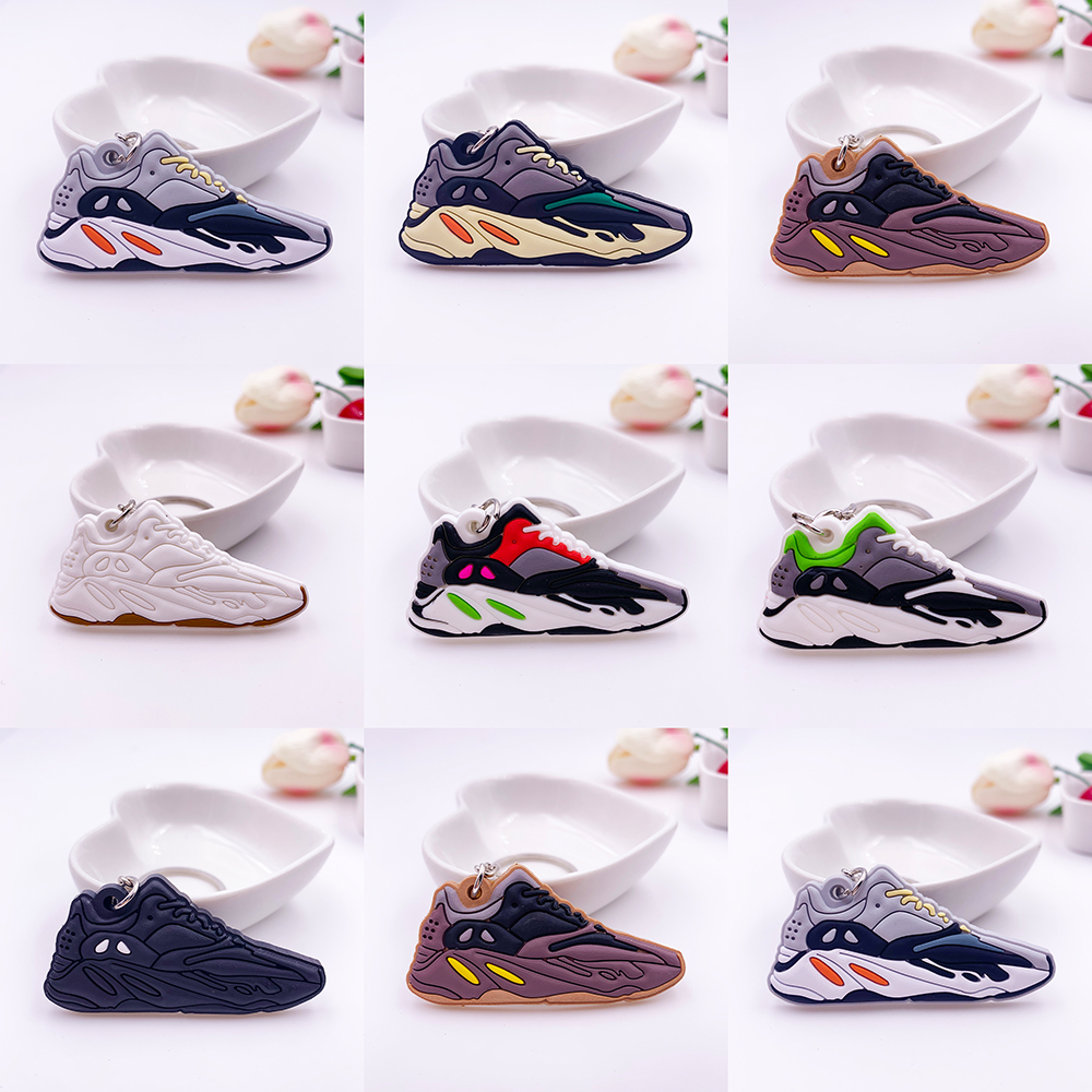 New Color Mini Silicone Sneaker Keychain Woman Bag Charm Men Kids Key Ring Gifts Shoes WAVE RUNNER Key Chain