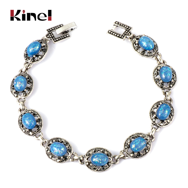 Kinel 2019 New Blue Opal Bracelet Vintage Jewelry Tibetan Silver Crystal Bracelets For Women Christmas Party Gift Drop Shipping(China)