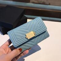 2020 new high end customized brand luxury women's purse caviar V shaped wallet leather card holder