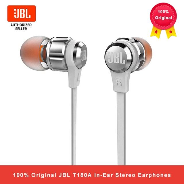 JBL T180A في الأذن سماعات ستيريو 3.5 مللي متر السلكية الرياضة سماعة الألعاب باس نقي سماعات يدوي مع ميكروفون