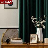 LISM moderno apagón cortinas para sala de estar dormitorio cortinas de Color sólido de tratamiento de ventana decoración del hogar
