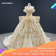 J67024 Jancember kobiety sukienki na wesele dla gości kochanie Off ramię koronki Plus rozmiar suknie wieczorowe Vestido Noite