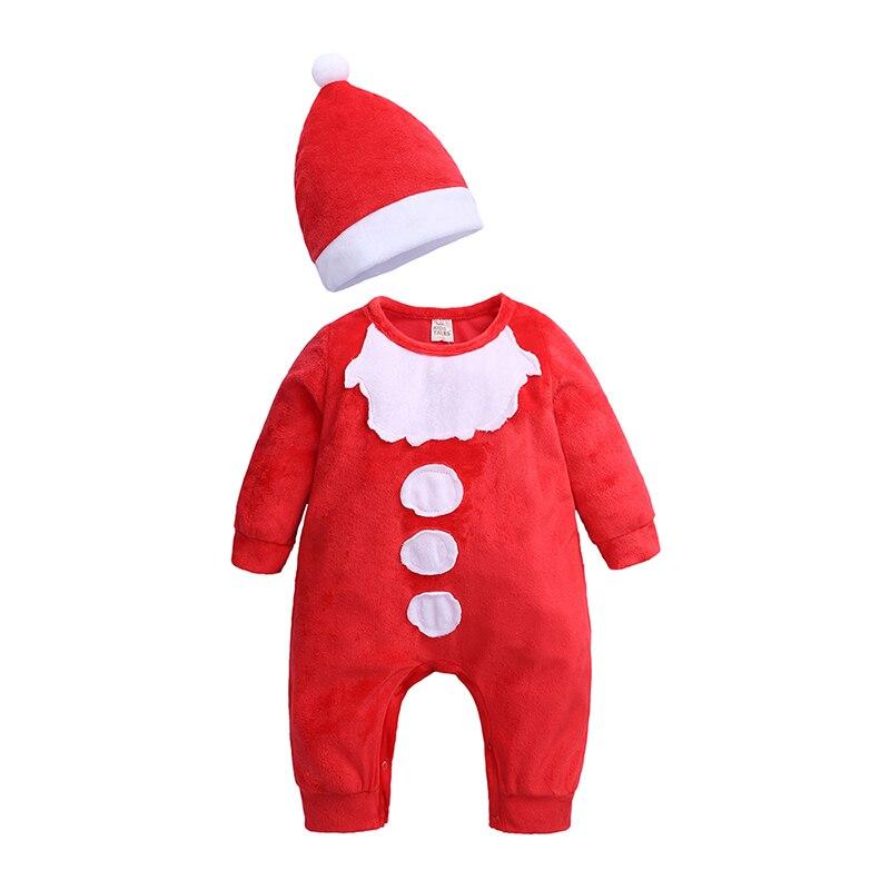 2020 г. НОВАЯ РОЖДЕСТВЕНСКАЯ Одежда для новорожденных мальчиков и девочек цельный комбинезон с длинными рукавами, спортивный костюм красный