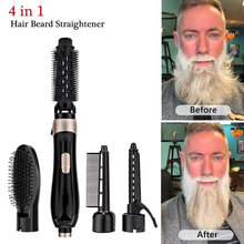 Multifunctional Beard Straightener Hair Comb Brush 4 in 1 Quick Hair Curler Quick Hair Styler Styling Accessories Comb For Men(China)