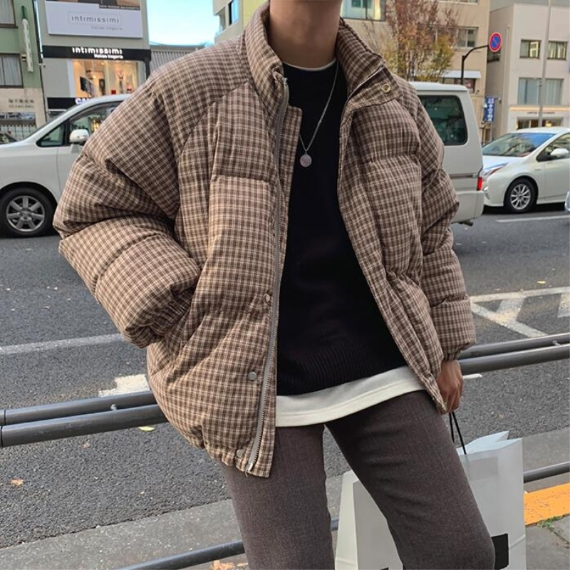 2019 Winter Men's In Warm   Parkas   Lattice Printing Cotton-padded Clothes Thickening Trench Tide Overcoat Snow Jackets Size M-XL