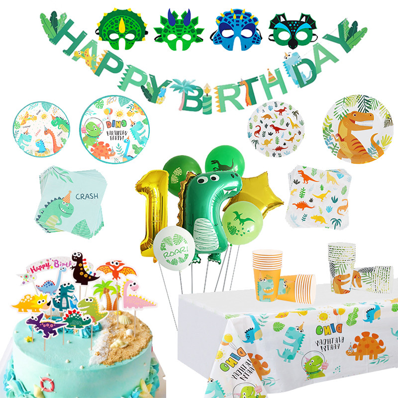 Kinder Glücklich Geburtstag Dekoration Junge Mädchen Geburtstag Ballon Banner Geschirr Dinosaurier Thema Geburtstag Party-Baby-Dusche Liefert