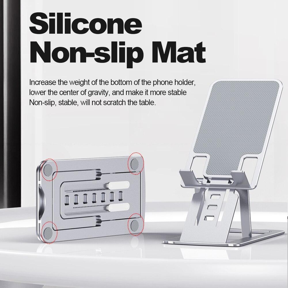 Suporte do telefone universal para o iphone 12 promax metal suporte do telefone para xiaomi mi 9 dobrável suporte de mesa para huawei telefone móvel