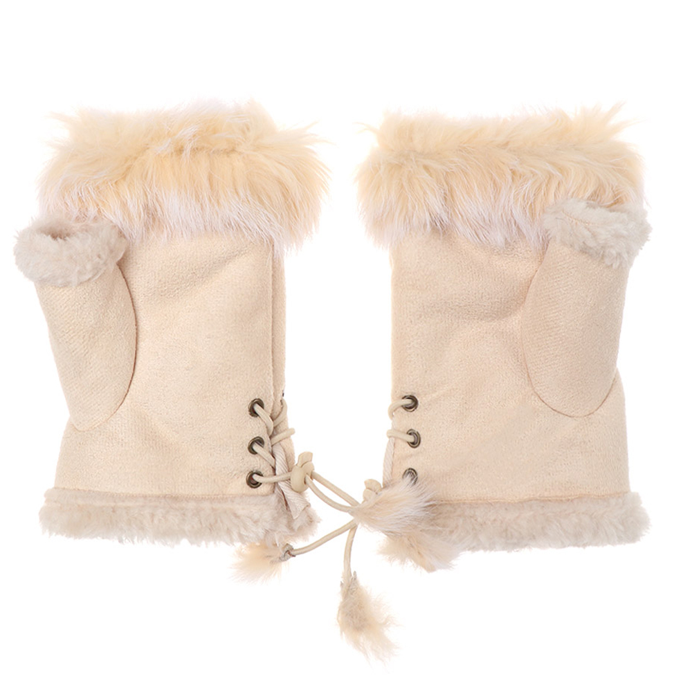 EIE Cute Plush/Suede Leather Gloves Faux Rabbit Hair Wrist Fingerless Mittens For Women High Quality Half Finger Female Mitten