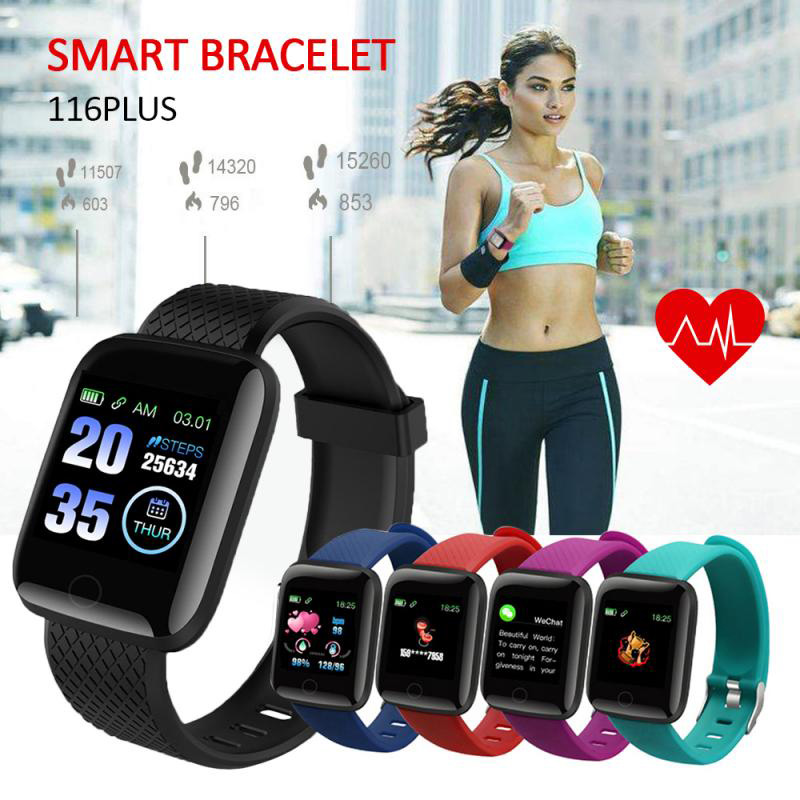 1.3 inch Sports Smart Watch IP67 Waterproof 116 Plus Heart Rate Smart Wristband For Android iOS For Gym Fitness Running Hiking