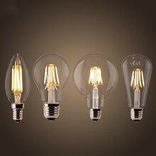 Bombilla de filamento LED E27 Retro Edison lámpara 220V E14 Vintage C35 vela luz regulable G95 globo ampolla iluminación COB decoración del hogar