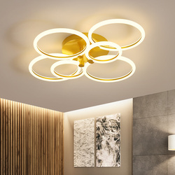 Anillos LED modernos lámpara de techo para cocina sala de estar sala de estudio dormitorio regulable + Accesorios geométricos de control remoto