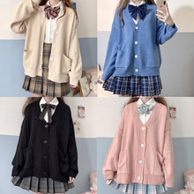 Pull d'école japonais en coton tricoté avec col en v, uniformes JK, Cardigan multicolore pour étudiantes, Cosplay, printemps automne 100%