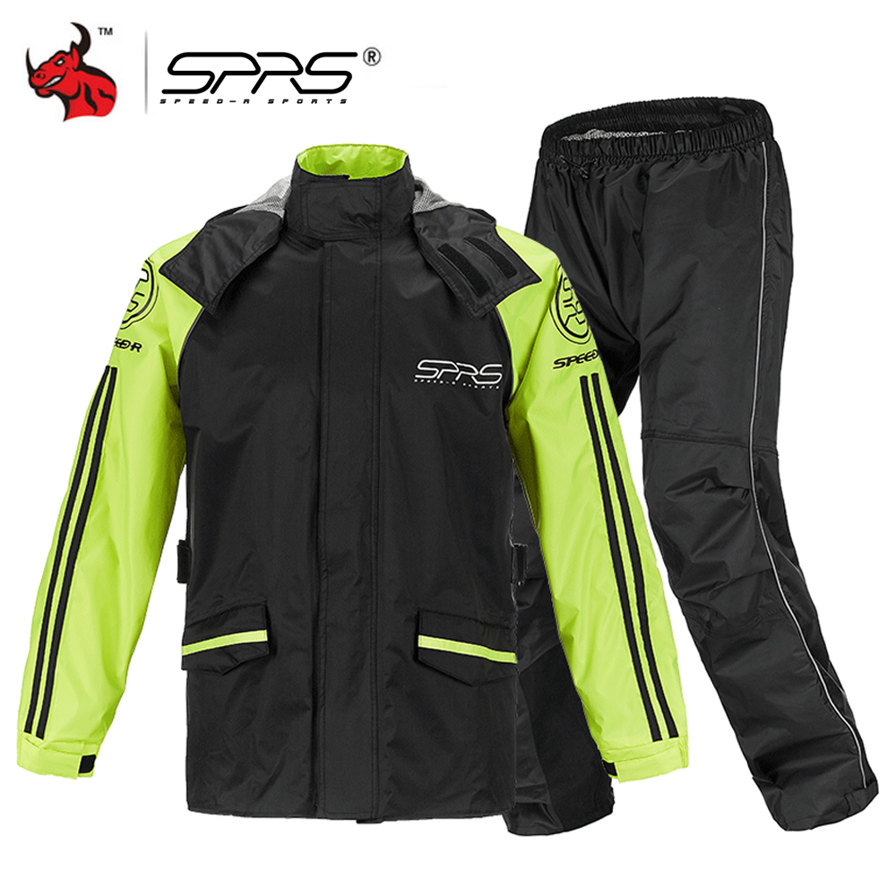 Adult Rain Suit Outdoor Waterproof Jacket /& Trousers Motorcycle Hooded Raincoat