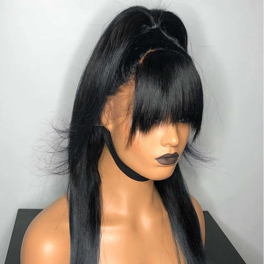 Fabwigs 360 perucas frontais do laço com franja perucas falsas transparentes do couro cabeludo 13x6 parte profunda perucas do cabelo humano da parte dianteira do laço com franja remy