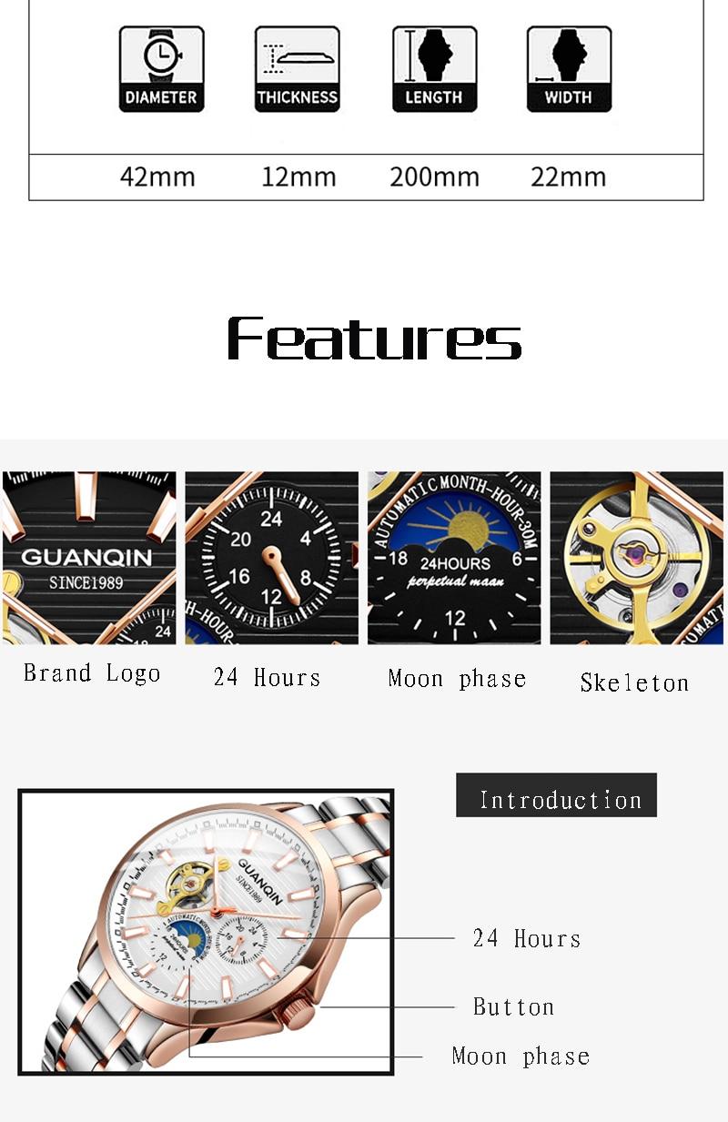 He2b437433e414404b16e1b1fa6de4795y GUANQIN 2019 automatic watch clock men waterproof stainless steel mechanical top brand luxury skeleton watch relogio masculino