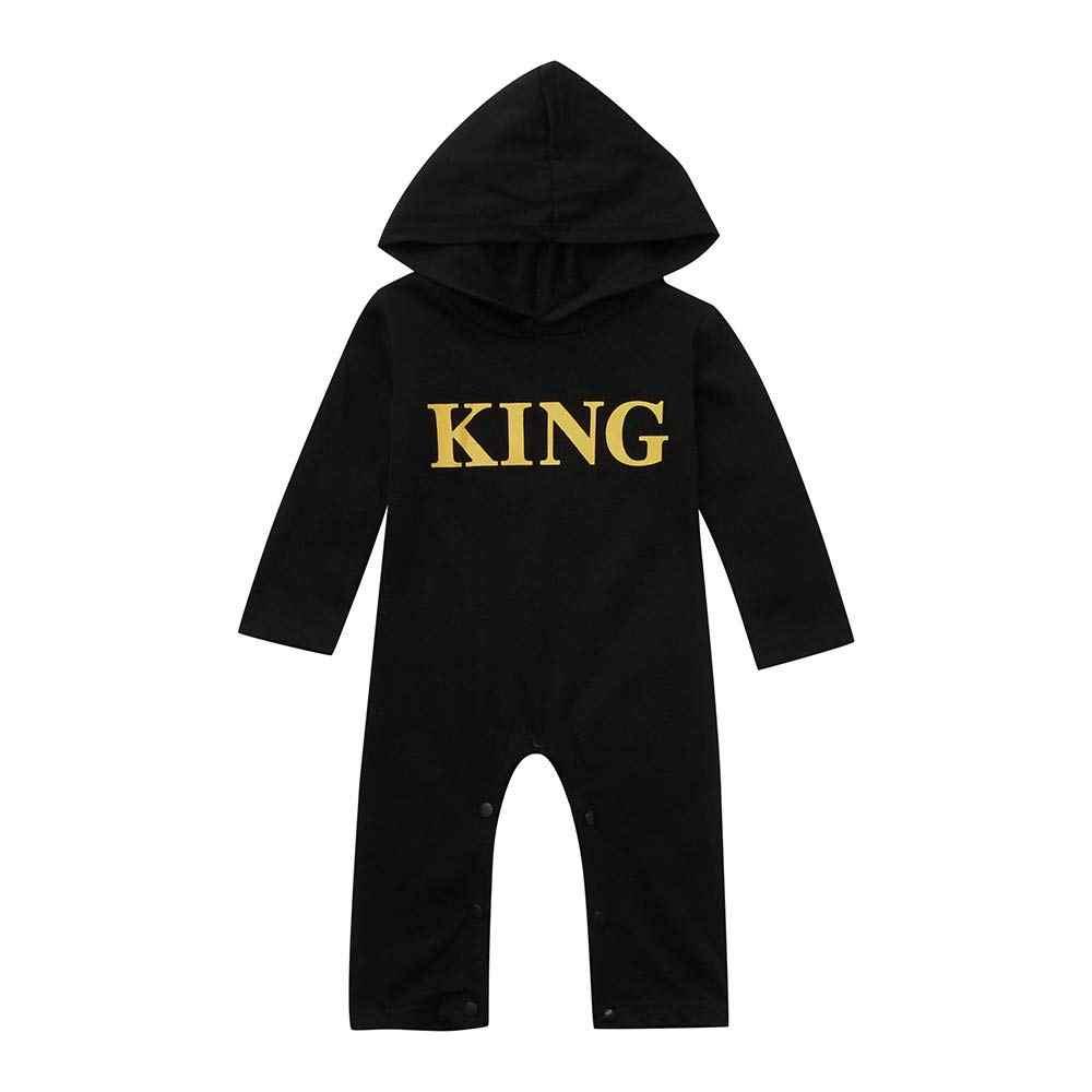 Baby Black Hoodie Jumpsuit Toddler KING Printed Long Sleeves One Piece Hoodie