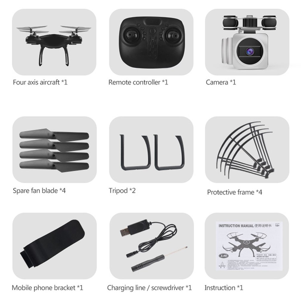 HJ14Q FPV Camera Drone RC Quadcopter Live Video Altitude with 1 battery 2.4GHz 4 Channels 6 Axis Gyro RC Drone image