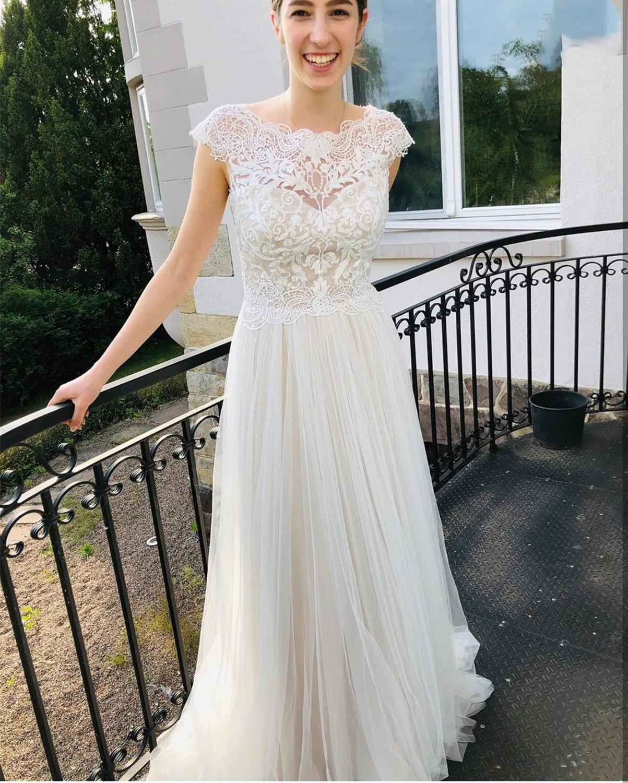 2020 A-line Wedding Dress Boho Beach Rustic Sale Scoop Chiffon Cap Sleeve Pleat Bridal Gowns Vestidos De Novia Corte Trompeta