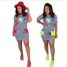 Cute Sweet Girl Lips Print Short Sleeve Tshirt Dress Striped Cartoon Ropa Mujer Bodycon Bandage Dress Casual Crewneck Bestidos cartoon print striped night dress