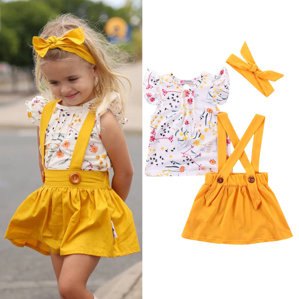 2020 Baby <font><b>Girls</b></font> Clothes Sets <font><b>T</b></font>-<font><b>shirt</b></font> Tops +Strap <font><b>Dress</b></font> + Bow Headbands 3Pcs kids Clothes image