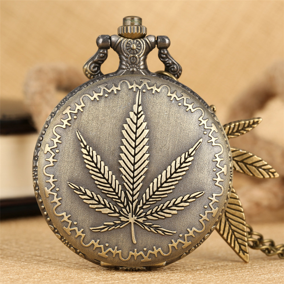Bronze Leaf Pendant Accessory Quartz Pocket Watch Pendant Necklace Clock Men Women With Sweater Chain Xmas Gift With Box Relojes