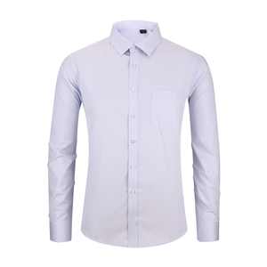 Image 5 - High Quality Non iron Mens Long Sleeved Dress Shirt White Blue Business Casual Male Social Regular Fit Plus Size