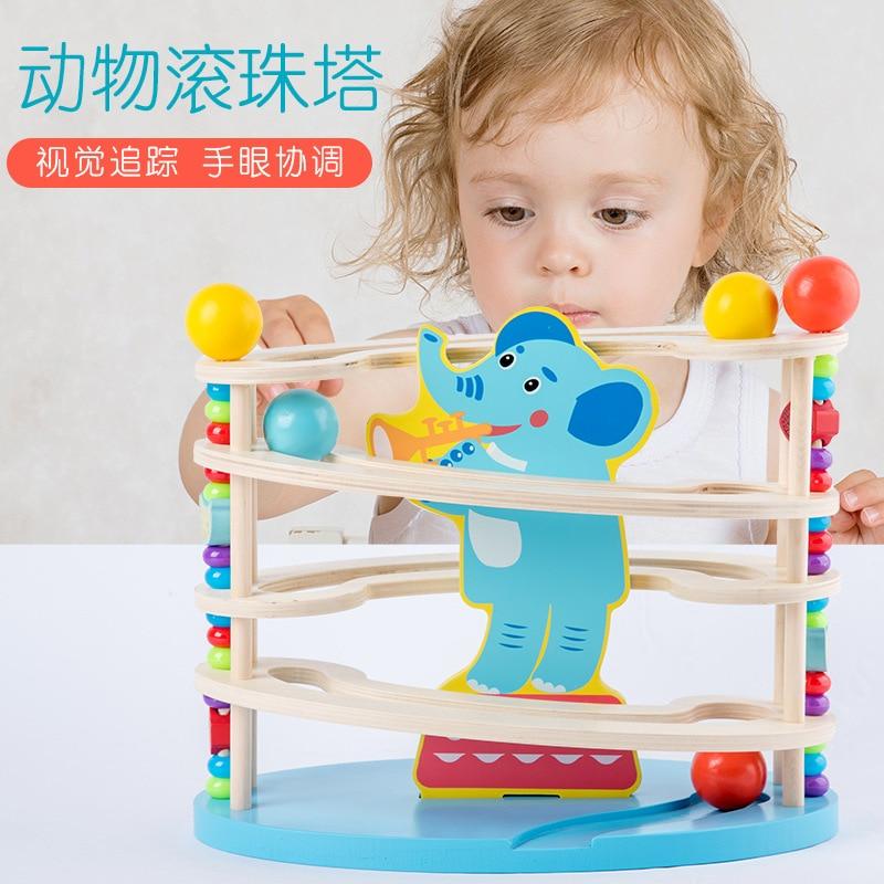 CHILDREN'S Early Education Wooden Giraffe Ball Bearing Tower Baby Parent And Child Interactive Casual Desktop Ball Bearing Bead-