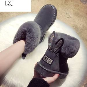 Женские ботинки; Брендовая зимняя обувь; Теплые черные повседневные женские зимние ботинки с круглым носком размера плюс