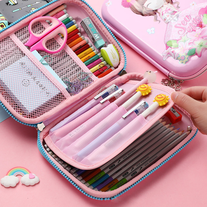 Function Pocket Unicorn Eva Ziper Flower Pencil Box Case Girl Stationery Case Male Student Kawaii Capacity Stationery