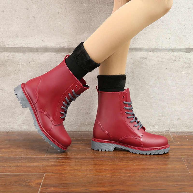 Dwayne/женские резиновые сапоги; водонепроницаемая обувь; Женская водонепроницаемая обувь; резиновая обувь на шнуровке; ПВХ ботильоны; модные однотонные непромокаемые сапоги