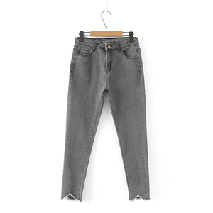 Image 2 - GOPLUS קוריאני סגנון נשים ג ינס גדול גודל גבוהה מותן אפור שחור ג ינס סקיני ג ינס אישה מכנסי עיפרון גרנדה Taille Femme C9561