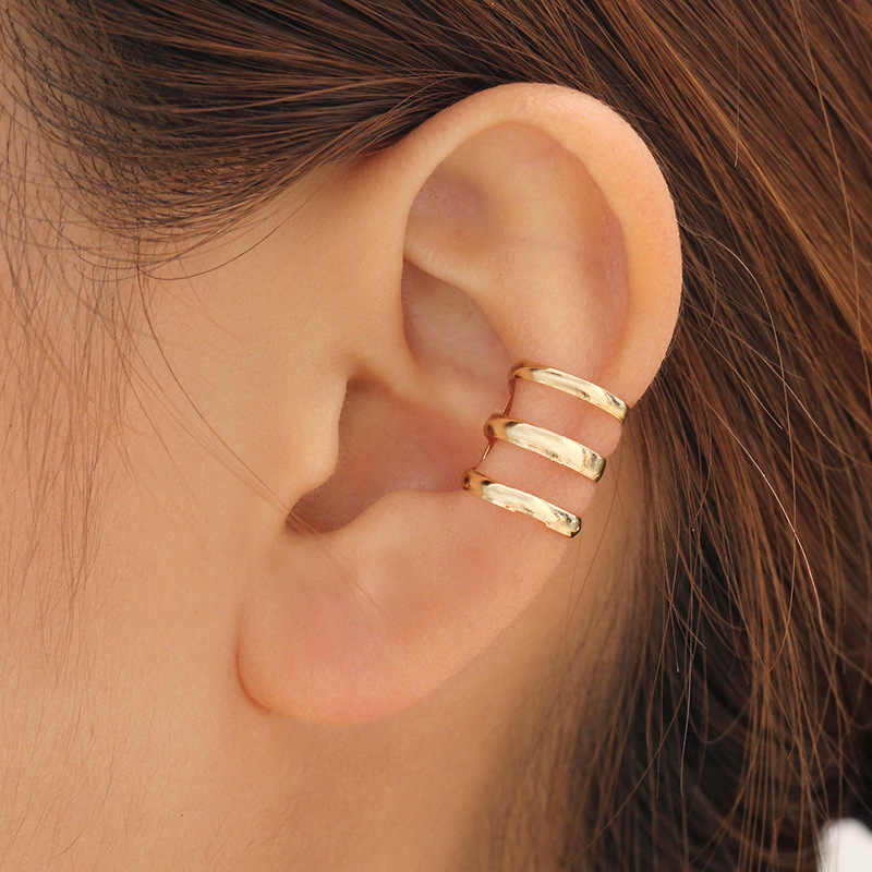 1 pieza de moda Punk Rock Clip de oreja pendientes de envoltura sin piercing-Clip en pendientes de oro plateado Bijoux boda gif para hombres y mujeres