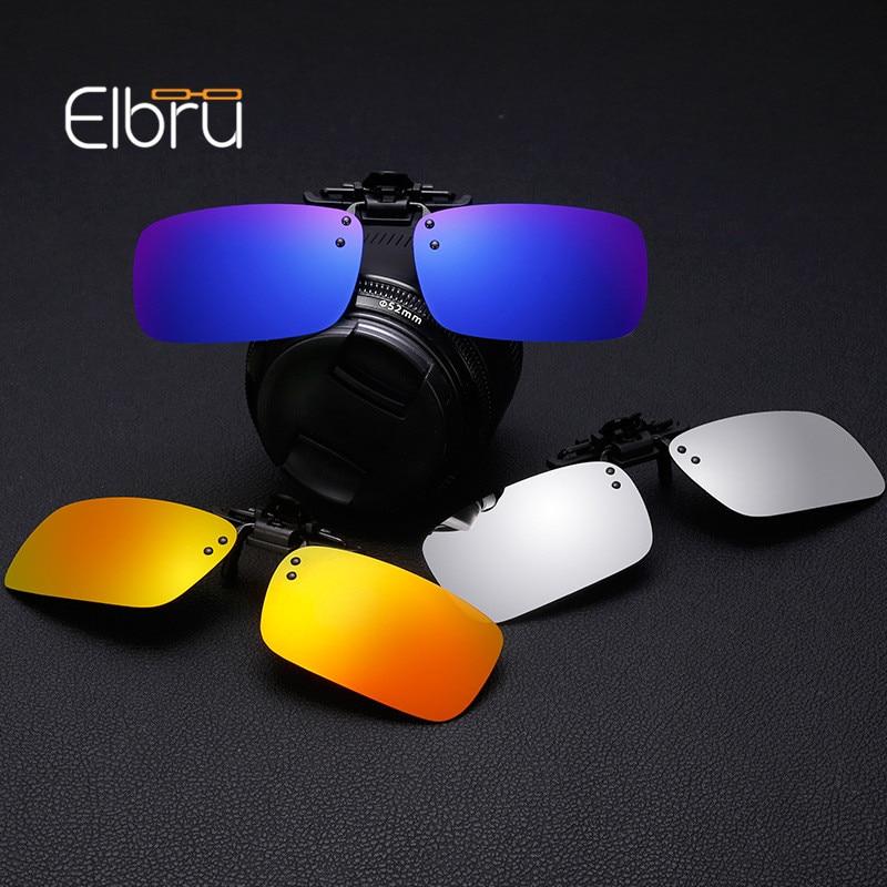 Elbru Men Polarized Sun Glasses Driver Goggles Anti-UVA UVB  Driving Night Vision Lens Clip On Sunglasses Accessories