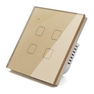 Image 5 - (Не нужен нейтральный) Wi Fi сенсорный светильник енный выключатель, Золотой стеклянный синий светодиодный умный дом, управление телефоном, 1 комплект, 2 канала, Alexa Google Home
