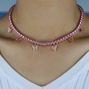 Image 3 - Roze Pinky Girl Vrouwen Sieraden 5A Cz Tennis Chain Vlinder Drop Charm Choker Ketting Rock Hip Hop Sieraden
