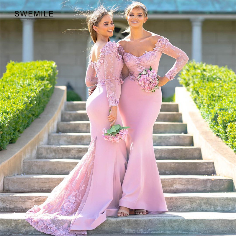 Elegant Long Cap Sleeve Flowers Wedding Bridesmaid Dresses Sexy Lace Appliques Mermaid Wedding Party Dresses Backless Prom Gown