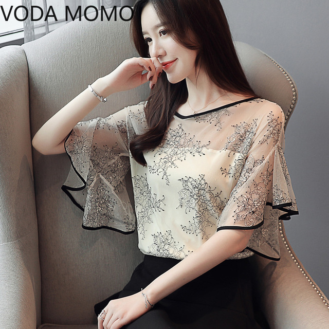Summer New Fairy Lace Stitching Women shirt Butterfly sleeve embroidery Tops Casual Crochet Hollow out blouse Plus size 3
