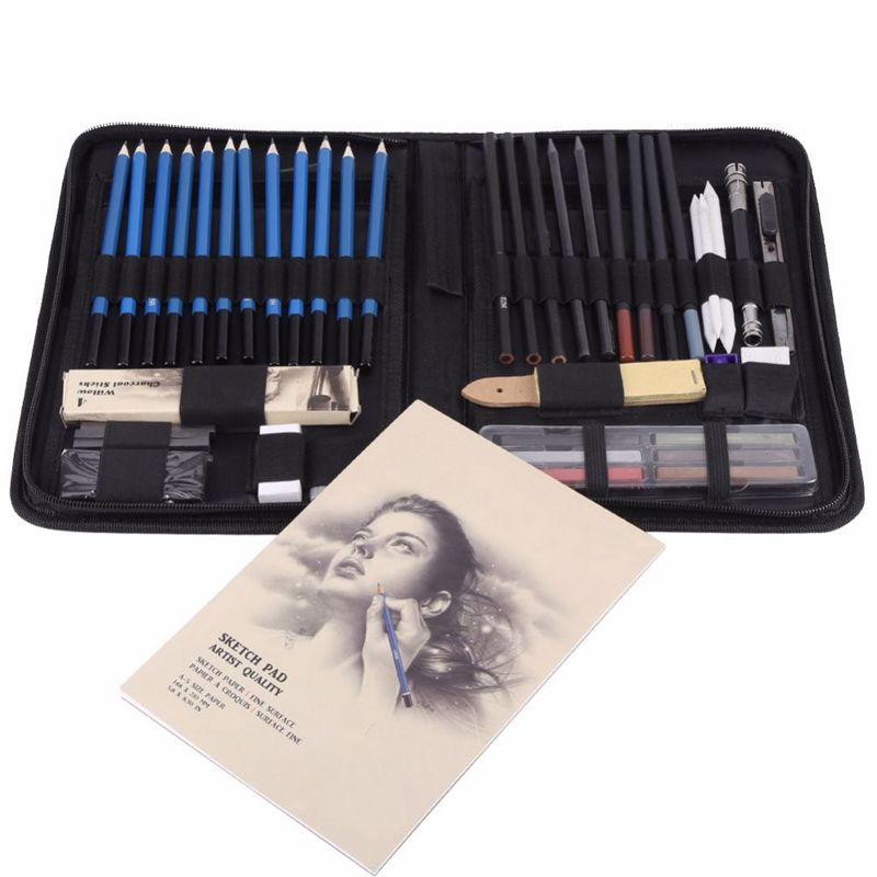48 Pcs Pencil Professional Drawing Sketch Pencil Kit Sketch Graphite Charcoal Pencils Sticks Erasers Stationery Drawing Supplies