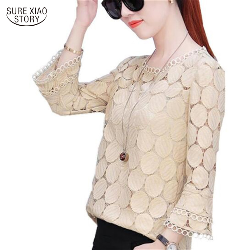 2019 Autumn Plus Size Lace Flare Sleeve Women Chiffon Blouse Shirt Casual Solid Hollow Women Clothing Top Femlae Blusas 905E 30