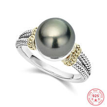 Real S925 Sliver Pearl Diamond Ring for Women Luxury Bizuteria Wedding Anillos De Topaz Gemstone 925 Grey Pearl Ring Jewelry Box(China)