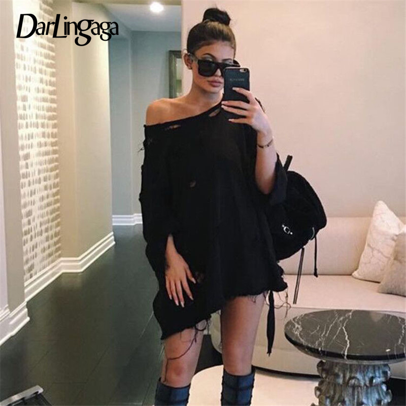Darlingaga Streetwear Black Hole Long Sweatshirt Women Casual Oversized Hoodie Pullover Autumn Winter Sweatshirts Dress Clothes