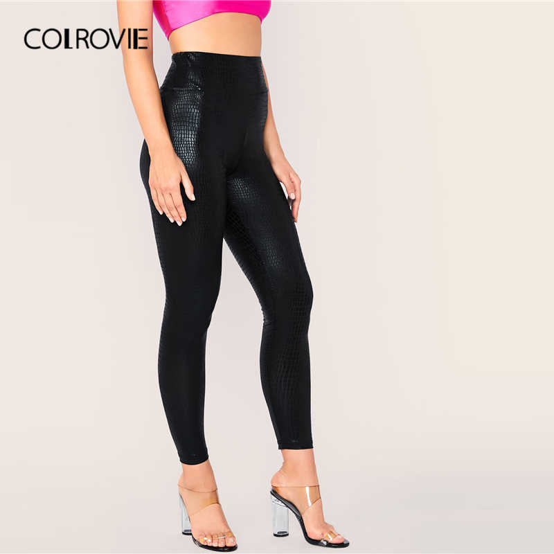 COLROVIE noir large ceinture peau de serpent Leggings femmes extensible solide Sexy Leggings 2019 mode automne dames glamour pantalon