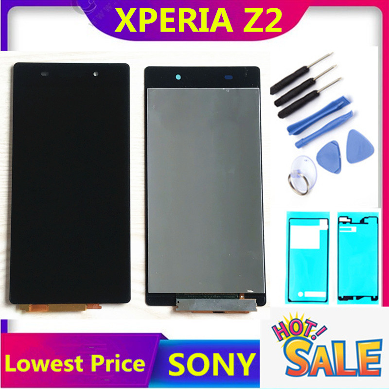 Touch Screen For Sony Xperia Z2 D6502 D6503 D6543 L50W D6502D D6543 LCD Display Digitizer Assembly Free Shipping Adhesive Tools