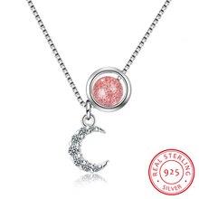 Crescent Moon Hanger Ketting Voor Vrouwen Verharde Cz Crystal Moon Hanger 925 Sterling Zilveren Ketting Islam Sieraden Israëlische