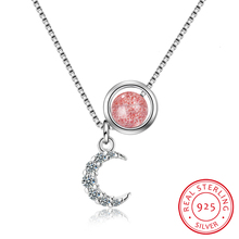 Crescent Moon Pendant Necklace For Women Paved Cz Crystal Moon Pendant 925 Sterling Silver Necklace Islam Jewelry Israeli