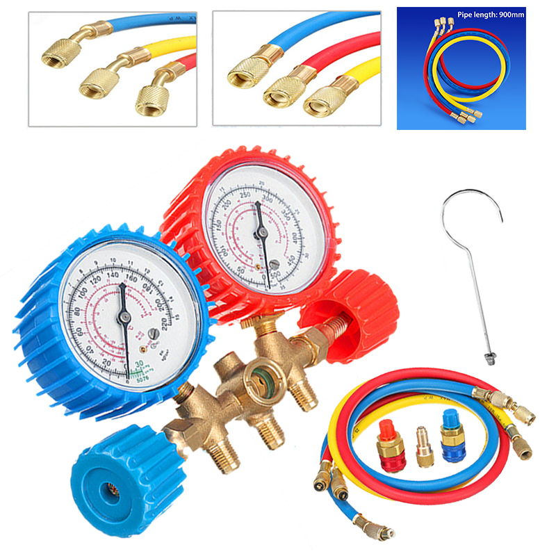 1 Set New Plastic & Metal Air Conditioning R134A Air Conditioning Refrigerant Pressure Gauge Kit Tools