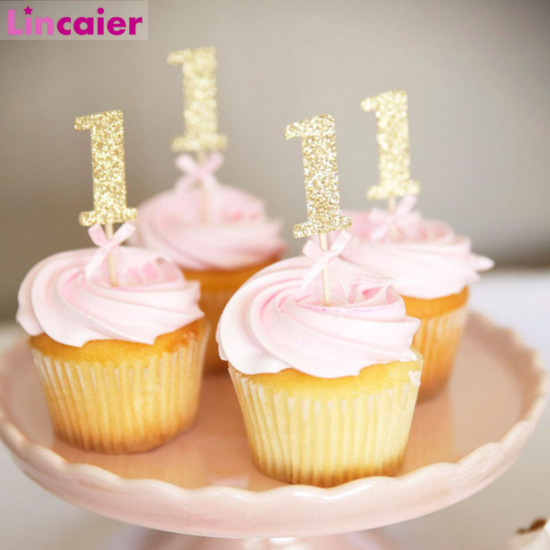 First Birthday Girl <font><b>Party</b></font> 10pcs Gold Pink Paper 1 Cupcake Toppers 1st Birthday <font><b>Decorations</b></font> Baby Boy Kids Table Supplies <font><b>Unicorn</b></font> image
