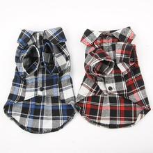 Casual Small Pet Clothes T Tops Lapel Shirt Plaid Puppy Jacket Dog Cat Apparel Coat
