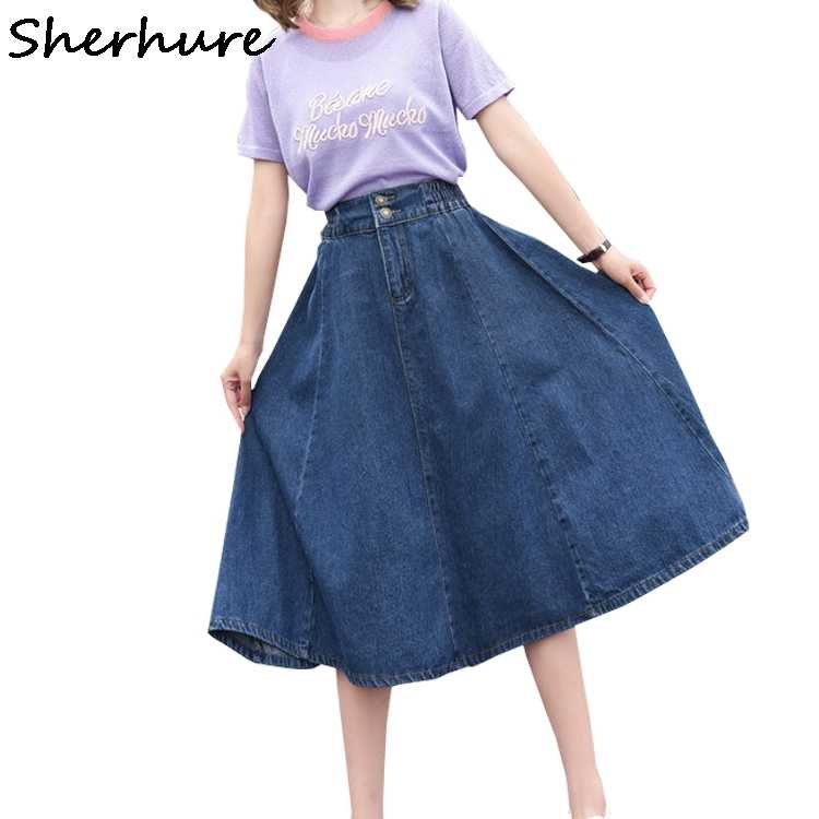 Sherhure 2020 Hoge Taille Plus Size 4XL 5XL Lange Vrouwelijke Jumper Dames Herfst Vrouwen Denim Rok Saia
